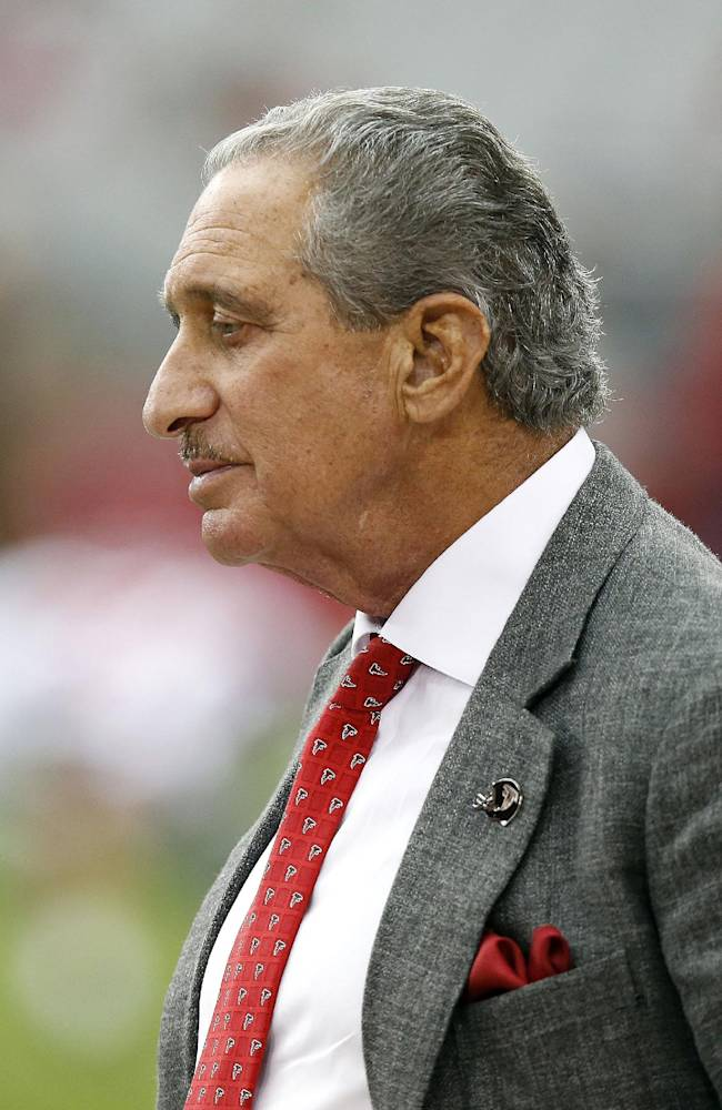 Atlanta Falcons owner Arthur Blank stands on the sidelines prior to an NFL football game against the Arizona Cardinals on Sunday, Oct. 27, 2013, in Glendale, Ariz