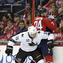 San Jose Sharks' Andrew Desjardins (10) checks Washington Capitals defenseman John Carlson (74) into the boards during the first period of an NHL hockey game, Tuesday, Oct. 14, 2014, in Washington The Associated Press