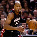 SAN ANTONIO, TX - JUNE 15: Ray Allen #34 of the Miami Heat drives to the basket against the San Antonio Spurs during Game Five of the 2014 NBA Finals at the AT&T Center on June 15, 2014 in San Antonio, Texas. (Photo by Andy Lyons/Getty Images)