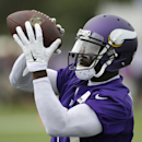 Minnesota Vikings wide receiver Greg Jennings catches a pass during NFL football training camp, Friday, July 25, 2014, in Mankato, Minn The Associated Press