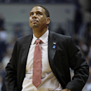 Providence head coach Ed Cooley looks up at the scoreboard late in the second half of an NCAA college basketball game against Xavier, Saturday, Feb. 8, 2014, in Cincinnati. Xavier won 59-53. (AP Photo/Al Behrman)
