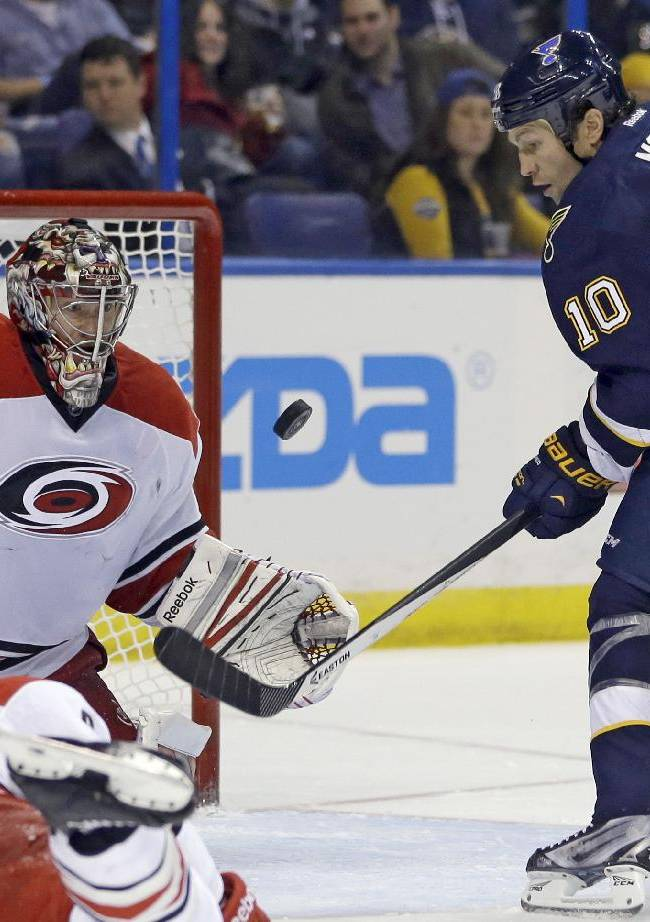 St. Louis Blues' Brenden Morrow, right, and Carolina Hurricanes goalie Justin Peters keep their eyes on a loose puck during the second period of an NHL hockey game Saturday, Nov. 16, 2013, in St. Louis