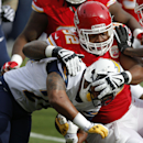 Kansas City Chiefs nose tackle Dontari Poe (92) tackles San Diego Chargers running back Ryan Mathews (24) during the first half of an NFL football game at Arrowhead Stadium in Kansas City, Mo., Sunday, Nov. 24, 2013 The Associated Press