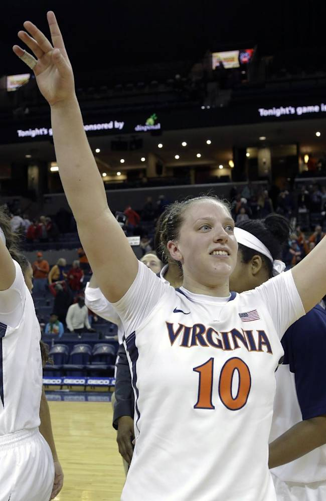 Virginia guard Kelsey Wolfe (10) celebrates their win over Maryland after an NCAA  college basketball game in Charlottesville, Va., Thursday, Jan. 23, 2014. Virginia won the game 86-72
