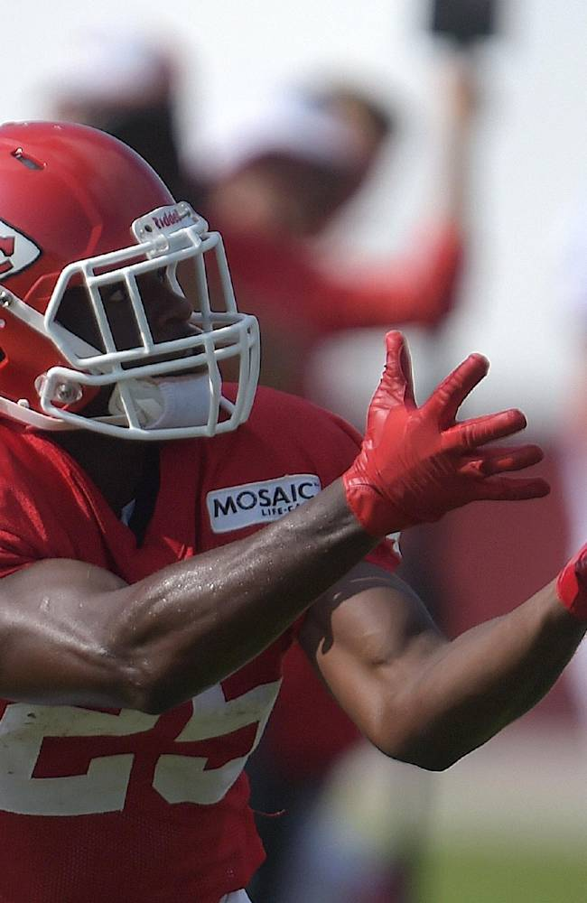 Kansas City Chiefs back Jamaal Charles brings in a reception during practice Monday morning, Aug. 11, 2014, on the Missouri Western State University campus in St. Joseph. Mo