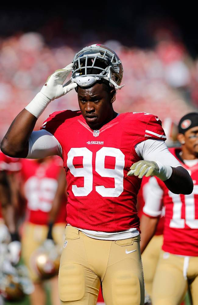 San Francisco 49ers outside linebacker Aldon Smith (99) during the NFL game between the Carolina Panthers and the San Francisco 49ers on Sunday, Nov. 10, 2013 at the Candlestick Park in San Francisco. (Ric Tapia/NFL)