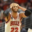 Chicago Bulls forward Taj Gibson (22) reacts as things start going the Wizards' way during Game 2 in an opening-round NBA basketball playoff series Tuesday, April 22, 2014, in Chicago. The Wizards won 101-99 The Associated Press