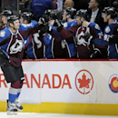 Colorado Avalanche left wing Patrick Bordeleau celebrates a goal in the third period of an NHL hockey game against the Pittsburgh Penguins on Sunday, April 6, 2014, in Denver. The Penguins won 3-2 in a shootout The Associated Press