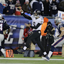 Baltimore Ravens quarterback Joe Flacco (5) passes over New England Patriots outside linebacker Dont'a Hightower (54) in the second half of an NFL divisional playoff football game Saturday, Jan. 10, 2015, in Foxborough, Mass The Associated Press