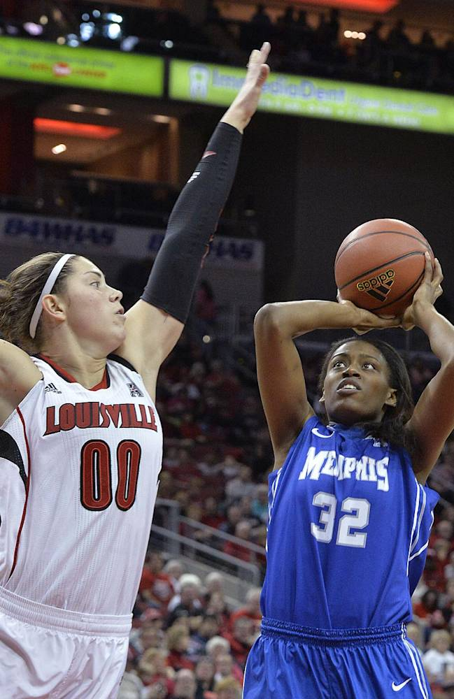 Memphis' Courtney Powell, right, puts up a shot over the defense of Louisville's Sara Hammond during the first half of an NCAA basketball game Sunday, Jan. 26, 2014 in Louisville, Ky