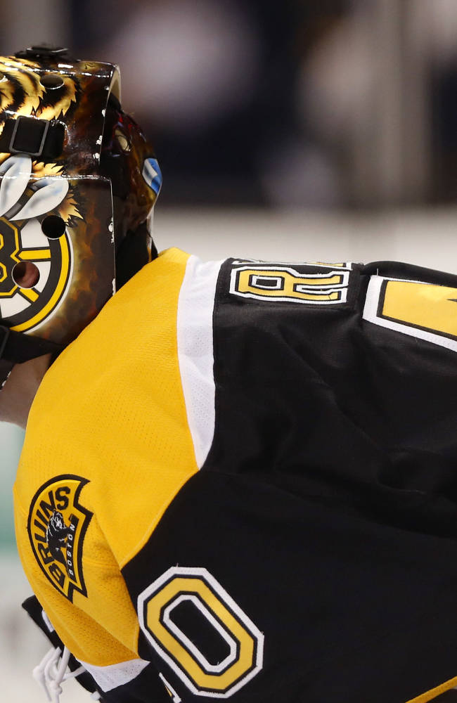 Boston Bruins goalie Tuukka Rask looks up at the clock after giving up a goal to the Detroit Red Wings during the third period of Detroit's 1-0 win in a first-round NHL playoff hockey game in Boston on Friday, April 18, 2014