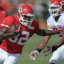 Kansas City Chiefs receiver Dwayne Bowe (82) runs past a defender during an NFL football training camp Monday, July 28, 2014, on the Missouri Western State University campus in St. Joseph, Mo The Associated Press