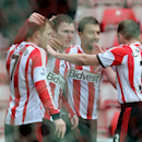 Sunderland's Craig Gardner, second left, celebrates his goal with his teammates during their English FA Cup fifth round soccer match against Southampton at the Stadium of Light, Sunderland, England, Saturday, Feb. 15, 2014