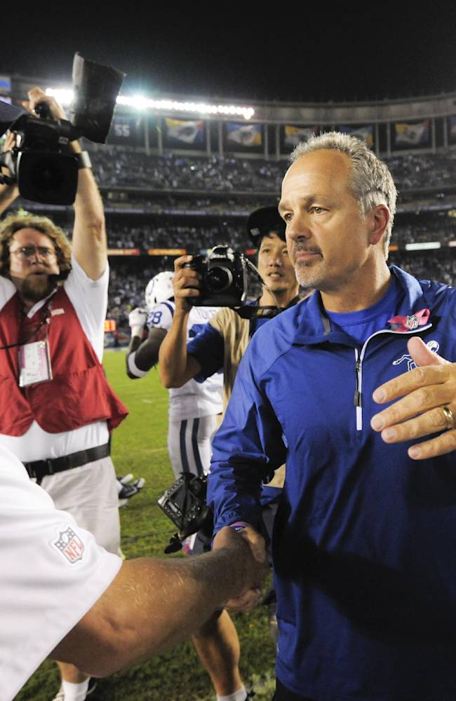 Indianapolis Colts coach Chuck Pagano, right, and San Diego Chargers coach Mike McCoy shake hands after the Chargers' 19-9 victory in a NFL football game Monday, Oct. 14, 2013, in San Diego