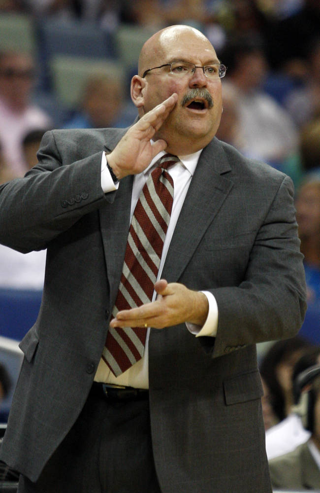 In this April 9, 2010, photo, then-New Orleans Hornets coach Jeff Bower shouts from the sideline during the Hornets' NBA basketball game against the Utah Jazz in New Orleans. The Detroit Pistons have hired Bower to be their general manager. The team announced the move Tuesday, June 3, 2014
