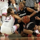 Cincinnati guard Alexis Durley, center, battles for a loose ball with Notre Dame guards Michaela Mabrey, left and Skylar Diggins during the first half of an NCAA college basketball game Saturday, Feb. 2, 2013, in South Bend, Ind. (AP Photo/Joe Raymond)