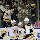 Boston Bruins Loui Eriksson (21) celebrates a third-period goal by Brad Marchand, center, along with teammates Dougie Hamilton (27) and Dennis Seidenberg (44) in front of Boston fans during an NHL hockey game against the Buffalo Sabres, Thursday, Oct., 30