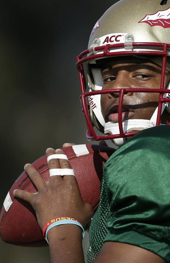 Florida State quarterback Jameis Winston looks to throw a pass during an NCAA college football practice on Friday, Jan. 3, 2014, in Costa Mesa, Calif. Top-ranked Florida State is to face No. 2 Auburn in the BCS championship game on Jan. 6 in Pasadena, Calif