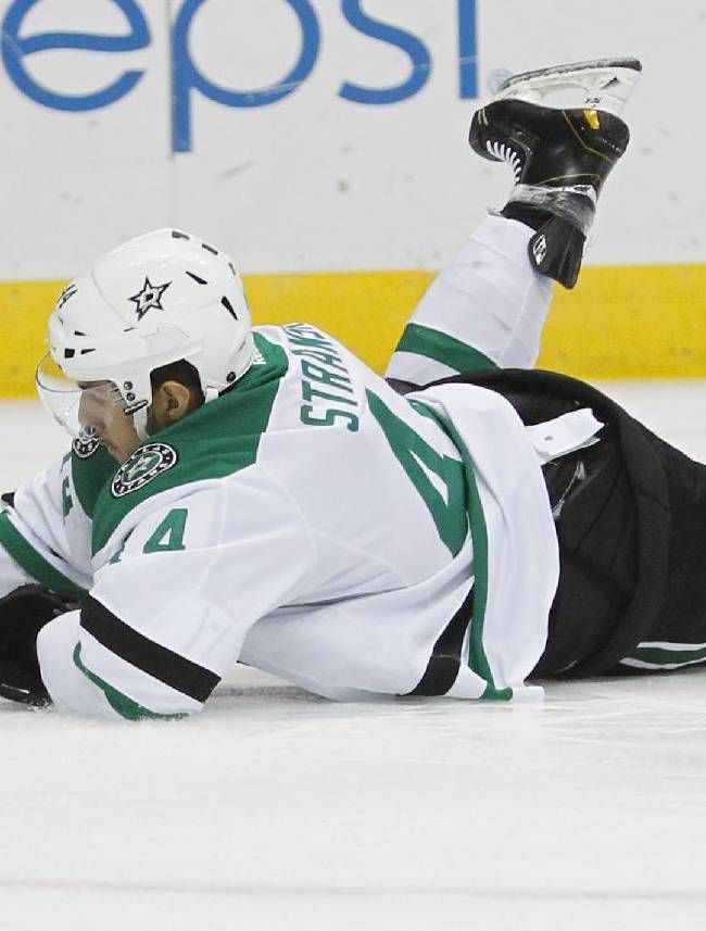 Dallas Stars' Matej Stransky (44), of the Czech Republic, is tripped by Colorado Avalanche's Matt Duchene during the second period of an NHL hockey game against the Colorado Avalanche on Tuesday, Sept. 24, 2013 in Denver
