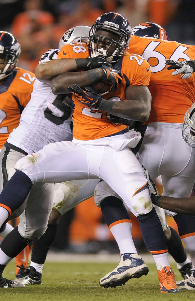 Denver Broncos running back Montee Ball (28) is tackled by Oakland Raiders outside linebacker Kaluka Maiava (50) in the fourth quarter of an NFL football game, Monday, Sept. 23, 2013, in Denver