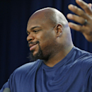 New England Patriots football defensive tackle Vince Wilfork gestures during a news conference in Foxborough, Mass., Friday, Jan. 23, 2015. The Patriots face the Seattle Seahawks in NFL football's Super Bowl XLIX on Sunday, Feb. 1, 2015, in Glendale, Ariz