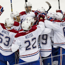 Montreal Canadiens celebrate a goal by defenseman Andrei Markov (79) during the shootout of an NHL hockey game, Wednesday, March 5, 2014, in Anaheim, Calif. The Canadiens defeated the Ducks 4-3 in a shootout The Associated Press