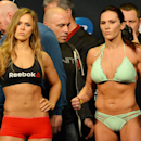 Feb 27, 2015; Los Angeles, CA, USA; Ronda Rousey and Cat Zingano face off at the weigh-in for their fight at UFC 184 at Staples Center. (Jayne Kamin-Oncea-USA TODAY Sports)