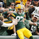 Green Bay Packers' Jordy Nelson celebrates a touchdown catch with fans during the first half of an NFL football game against the Carolina Panthers Sunday, Oct. 19, 2014, in Green Bay, Wis The Associated Press