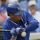 Kansas City Royals' Danny Valencia is hit by a pitch during the sixth inning of a spring exhibition baseball game against the Los Angeles Angels Thursday, March 20, 2014, in Surprise, Ariz The Associated Press