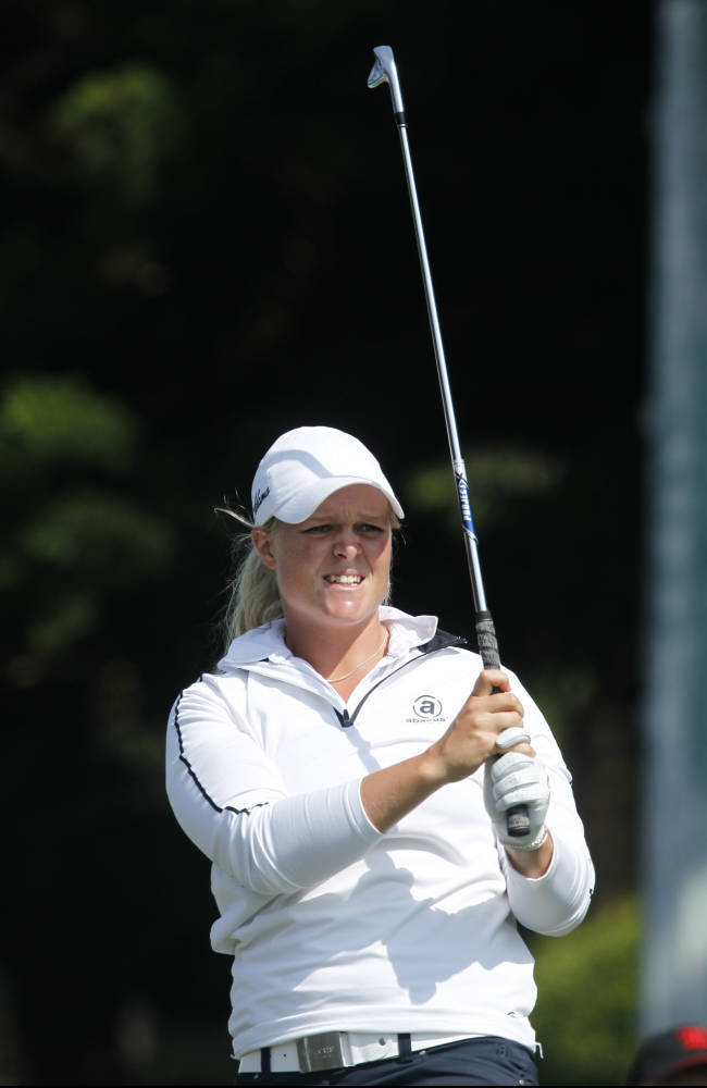 Caroline Hedwall of Sweden, watches her ball after teeing off the 2nd hole during the last day of the LPGA Taiwan Championship tournament at the Sunrise Golf & Country Club, Sunday, Oct. 27, 2013, in Yangmei, northern Taiwan