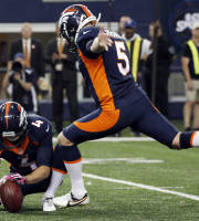 With Denver Broncos' Britton Colquitt (4) holding kicker Matt Prater (5) boots the game-winning field goal against the Dallas Cowboys during the fourth quarter of an NFL football game Sunday, Oct. 6, 2013, in Arlington, Texas. The Broncos won 51-48. (AP Photo/Tony Gutierrez)
