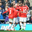 Manchester United's Danny Welbeck is congratulated by Wayne Rooney after scoring against West Brom during the English Premier League soccer match between West Bromwich Albion and Manchester United at The Hawthorns Stadium in West Bromwich, England, Satu