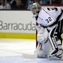 Los Angeles Kings goalie Jonathan Quick rests during a stoppage of play during the second period of Game 2 of an NHL hockey first-round playoff series against the San Jose Sharks Sunday, April 20, 2014, in San Jose, Calif The Associated Press