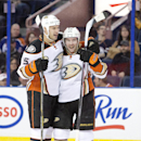 Anaheim Ducks' Ryan Getzlaf (15) and Sami Vatanen (45) celebrate a goal against the Edmonton Oilers during the first period of their NHL hockey game in Edmonton, Alberta, Canada on Friday, Dec. 12, 2014 The Associated Press
