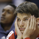 Atlanta Hawks' Kyle Korver watches from the bench late during the second half in Game 2 of an opening-round NBA basketball playoff series against the Indiana Pacers Tuesday, April 22, 2014, in Indianapolis. Indiana defeated Atlanta 101-85. (AP Photo/Darron Cummings)