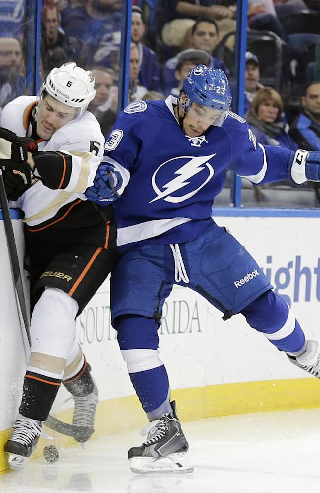 Filppula scores 2 goals, Lightning beat Ducks 5-1