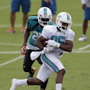 Miami Dolphins wide receiver Rantavious Wooten, foreground, carries the ball as free safety Louis Delmas (25) defends during NFL football training camp in Davie, Fla., Wednesday, July 30, 2014 The Associated Press