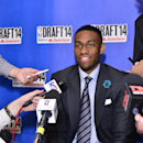 NEW YORK - JUNE 25: NBA Draft Prospect Jabari Parker, speaks to the media during media availability as part of the 2014 NBA Draft on June 25, 2014 at the Westin Times Square in New York City. (Photo by David Dow/NBAE via Getty Images)