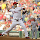 Philadelphia Phillies' Kyle Kendrick pitches in the first inning of a baseball game against the Washington Nationals, Wednesday, June 19, 2013, in Philadelphia. (AP Photo/Matt Slocum)