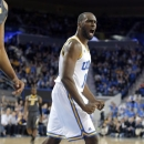 UCLA's Shabazz Muhammad reacts after a score by his team during the second half of an NCAA college basketball game against Missouri in Los Angeles, Friday, Dec. 28, 2012. UCLA won 97-94 in overtime. (AP Photo/Jae C. Hong)