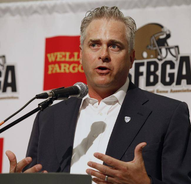 Pac-12 Deputy Commissioner Jamie Zaninovich speaks at the annual Bay Area college football media day at Levi's Stadium on Wednesday, July 30, 2014, in Santa Clara, Calif