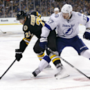 Boston Bruins left wing Loui Eriksson (21) grapples for control of the puck against Tampa Bay Lightning center Alex Killorn (17) during the second period of an NHL hockey game in Boston, Tuesday, Jan. 13, 2015. The Bruins won 4-3 The Associated Press