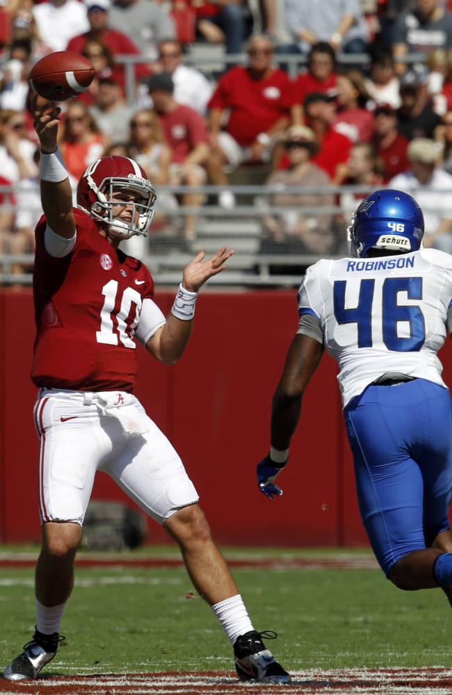 Alabama quarterback AJ McCarron (10) throws a pass while under pressure from Georgia State linebacker Jarrell Robinson (46) during the first half of an NCAA college football game on Saturday, Oct. 5, 2013, in Tuscaloosa, Ala