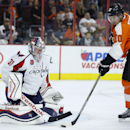 Philadelphia Flyers' Brayden Schenn (10) scores a goal past Washington Capitals' Philipp Grubauer (31), of Germany, during the second period of a preseason NHL hockey game, Monday, Sept. 22, 2014, in Philadelphia The Associated Press