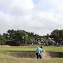 Sergio Garcia of Spain plays out of the bunker onto the 7th green during the final round of the British Open Golf championship at the Royal Liverpool golf club, Hoylake, England, Sunday July 20, 2014. (AP Photo/Scott Heppell)