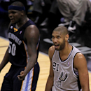 SAN ANTONIO, TX - MAY 21:  Tim Duncan #21 of the San Antonio Spurs reacts in overtime against Zach Randolph #50 of the Memphis Grizzlies during Game Two of the Western Conference Finals of the 2013 NBA Playoffs at AT&T Center on May 21, 2013 in San Antonio, Texas.  (Photo by Ronald Martinez/Getty Images)