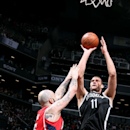NEW YORK, NY - APRIL 25: Brook Lopez #11 of the Brooklyn Nets shoots against the Atlanta Hawks in Game Three of the Eastern Conference Quarterfinals during the 2015 NBA Playoffs on April 25, 2015 at the Barclays Center in the Brooklyn borough of New York City. (Photo by Nathaniel S. Butler/NBAE via Getty Images)