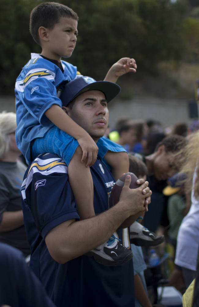 San Diego Chargers fans attend the team's NFL football training camp on Friday, July 25, 2014, in San Diego. (AP Photo)