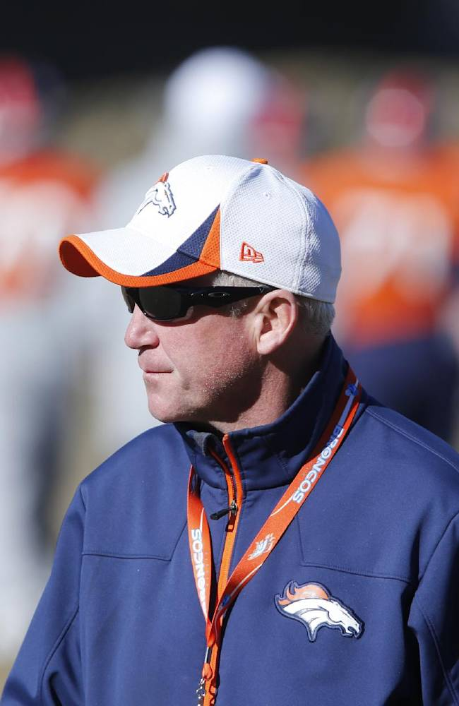 Denver Broncos head coach  John Fox watches during NFL football practice at the team's training facility in Englewood, Colo., Saturday, Jan. 25, 2014. The Broncos are scheduled to play the Seattle Seahawks in Super Bowl XLVIII on Feb. 2