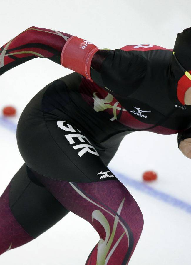 Germany's Gabriele Hirschbichler competes in the women's 1,500-meter race at the Adler Arena Skating Center during the 2014 Winter Olympics in Sochi, Russia, Sunday, Feb. 16, 2014